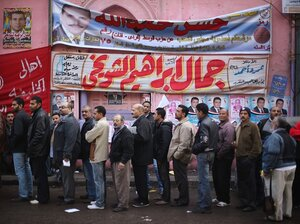Voters line up outside a polling station in The City of The Dead on Nov. 28, 2011 in Cairo, Egypt.