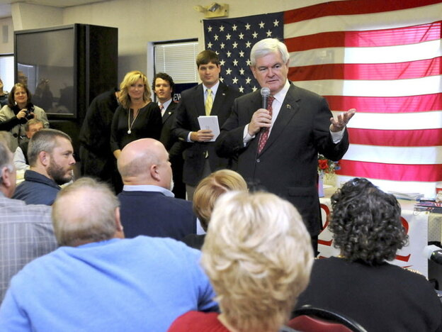 Republican presidential candidate Newt Gingrich addressed large crowds at campaign stops like this one at Tommy's Ham House in Greenville, S.C. on Wednesday.