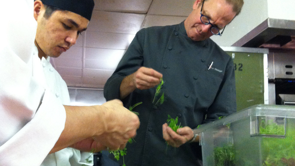Michel Nischan and assistants prepare herbs for his chopped herb salad.  (NPR)