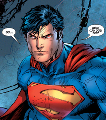 The newly redesigned Man of Steel, as he appears in this year's Justice League #1. The S-curl on his forehead will return; the red trunks are gone for good. Art by Jim Lee.