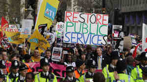 Thousands of protesters took part in a march against the government's proposed changes to public sector pensions in London today (Nov. 30, 2011).