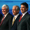 From left, GOP presidential candidates Newt Gingrich, Ron Paul, Rick Perry and Mitt Romney participate in the Fox News/Google GOP debate at the Orange County Convention Center in September. Since then, the candidates have gotten tougher on each other.