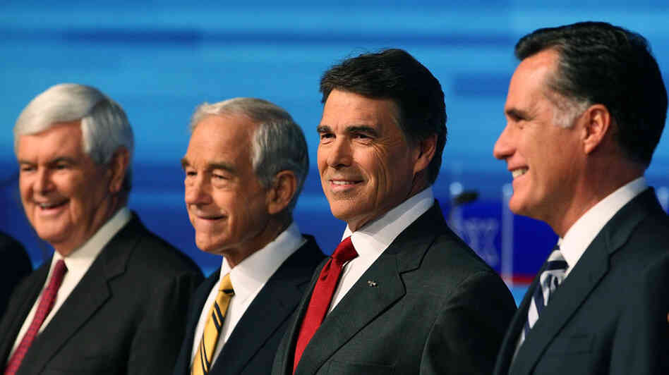 From left, GOP presidential candidates Newt Gingrich, Ron Paul, Rick Perry and Mitt Romney participate