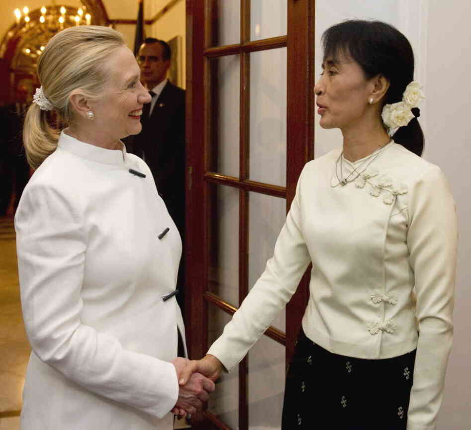 Secretary of State Hillary Rodham Clinton and pro-democracy leader Aung San Suu Kyi at the U.S. Chief of Mission Residence in Rangoon, Myanmar, earlier today (Dec. 1, 2011).
