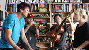 Mates of State performs a Tiny Desk Concert at the NPR Music offices on September 21, 2011.