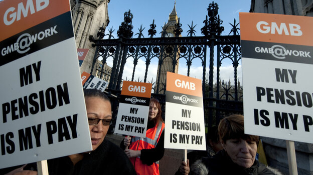 Demonstrators in London marched outside the Houses of Parliament  on Wednesday to protest against pension cuts. The issue has stirred demonstrations in many parts of Europe and the U.S.