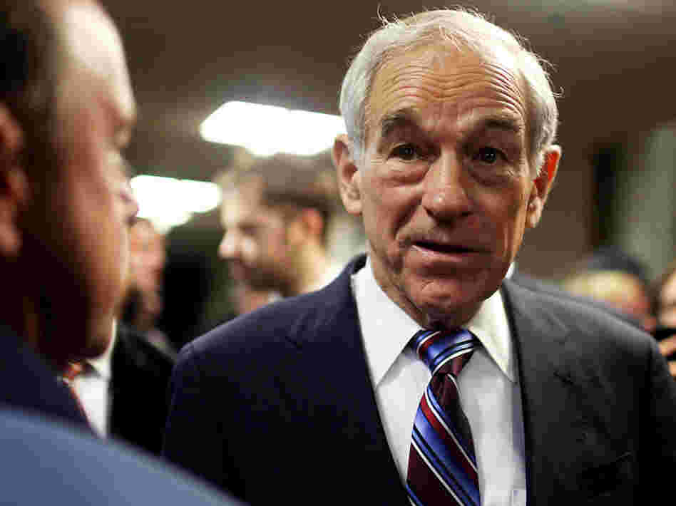 Republican presidential candidate Rep. Ron Paul speaks with voters after a town hall meeting in Keene, N.H., on Nov. 21.