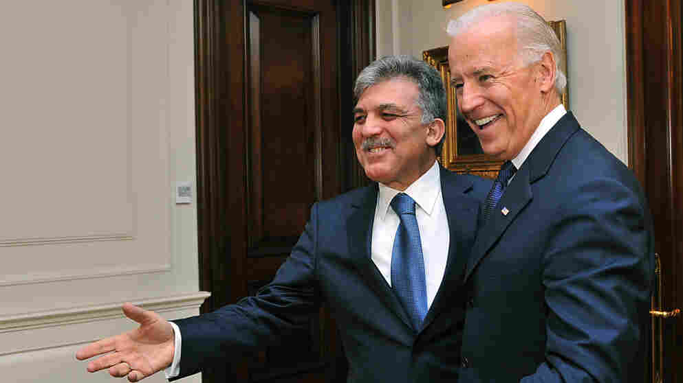 U.S. Vice President Biden (right) and Turkish President Abdullah Gul meet in Ankara, Turkey, on Friday. Biden praised Turkey for putting pressure on neighboring Syria to stop its bloody crackdown of protesters.