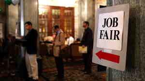 A job fair in San Francisco last month.