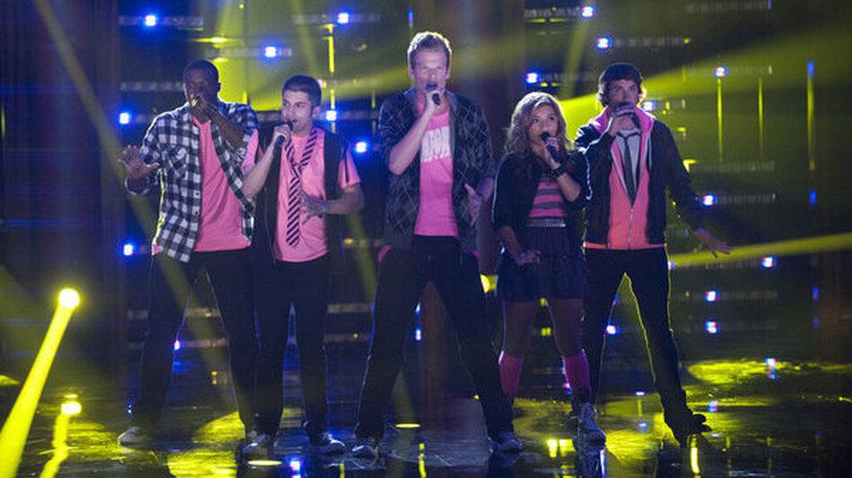 Pentatonix performs on <em>The Sing-Off</em>.