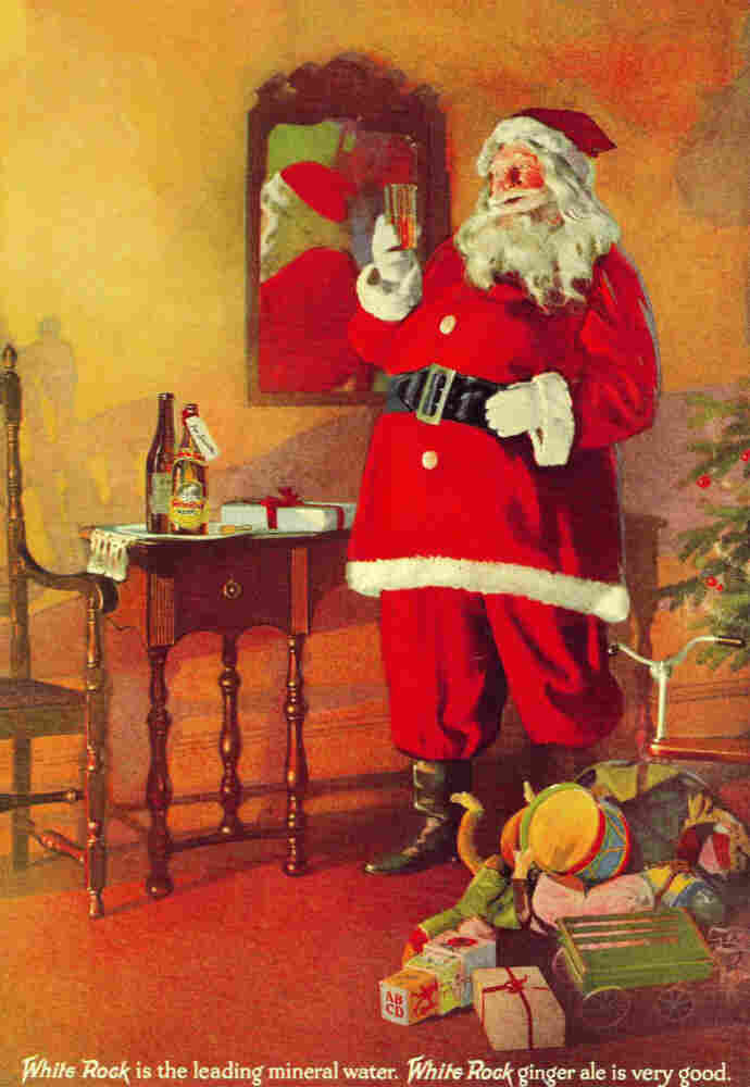 Another holiday ad for White Rock. Santa would later show up in ads for Coca-Cola.