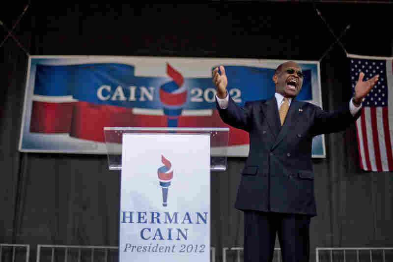 Cain announces he is running to be the Republican candidate for president at a rally May 21 in Atlanta.