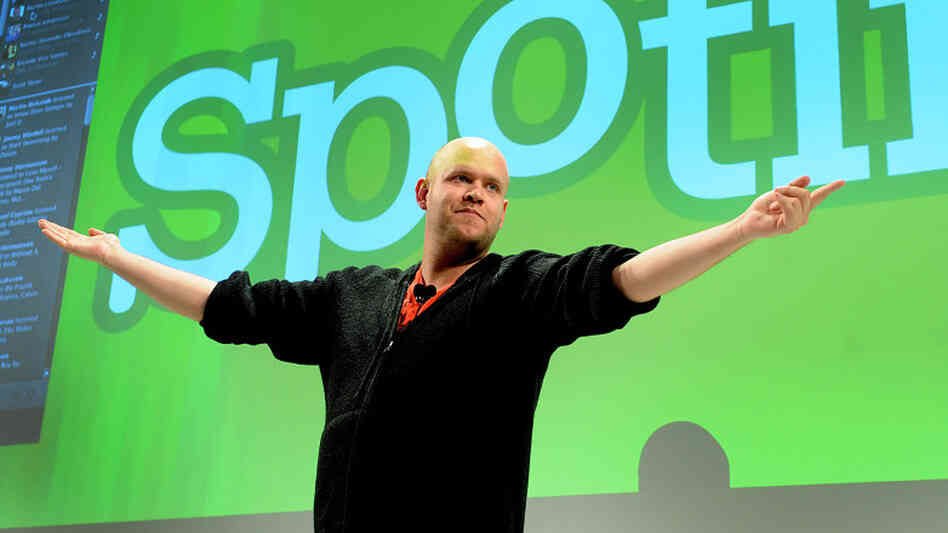Daniel Ek, CEO of Spotify, speaks at a news conference in New York on Wednesday.