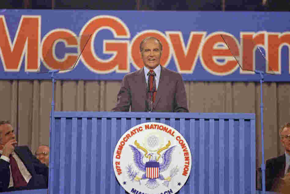 Former Sen. George McGovern (D-S.C.) accepts the Democratic nomination for president at the 1972 Democratic National Convention in Miami Beach, Fla.