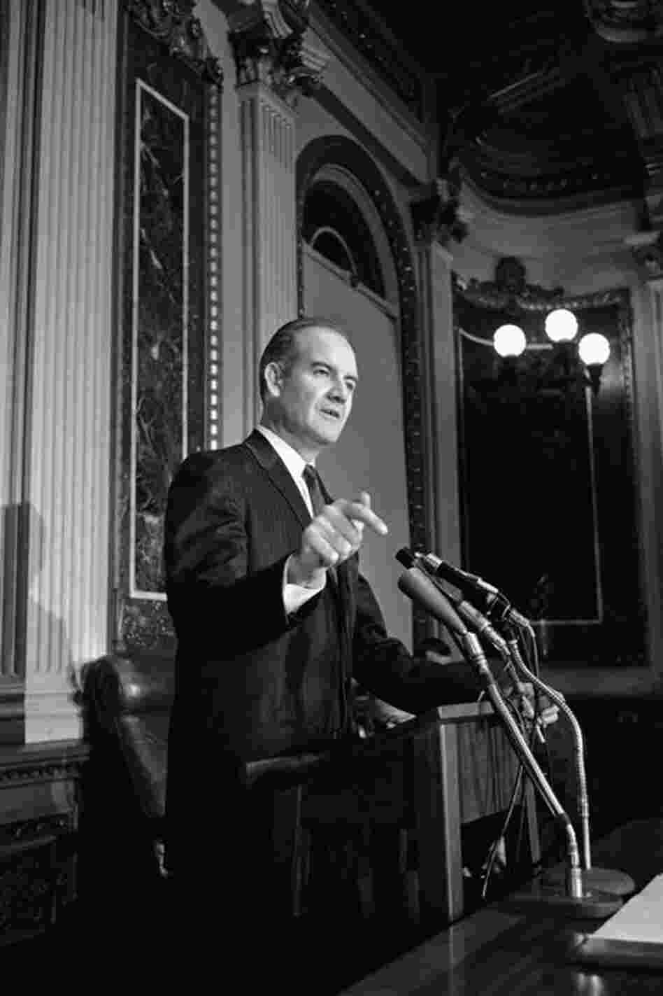 In the Senate, McGovern took on the issue of hunger in America. Here he discusses his recommendations for more vigorous efforts to use surplus food at a news conference in Washington in 1961.