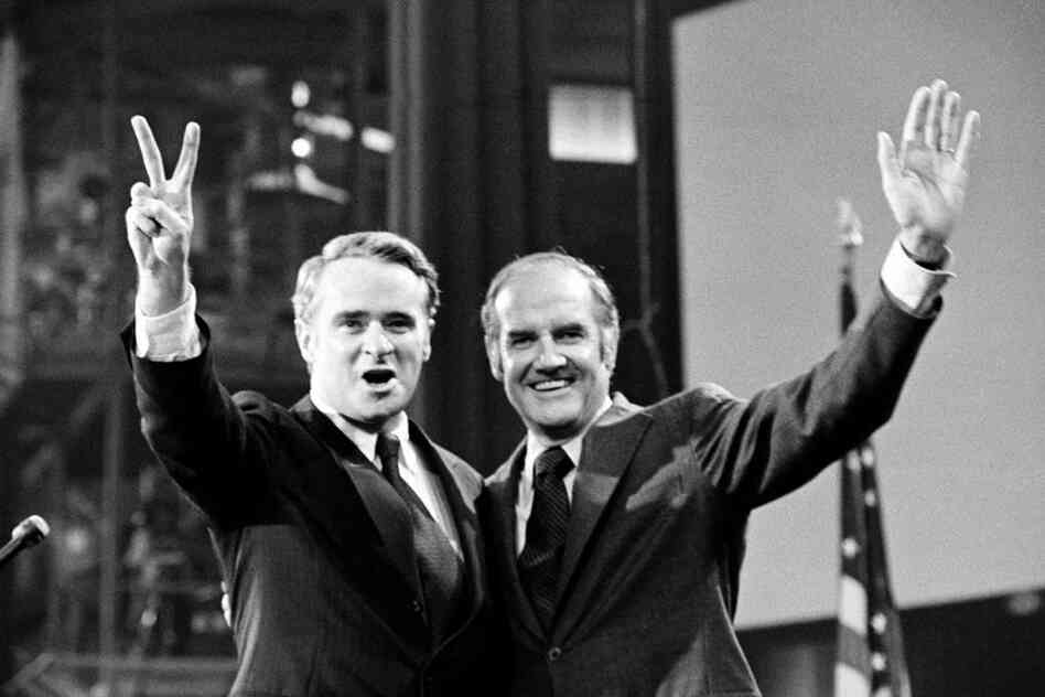 McGovern, the presidential candidate, stands with Sen.Thomas F. Eagleton, the vice presidential nominee, at the Democratic National Convention in Miami Beach, Fla.,1972.