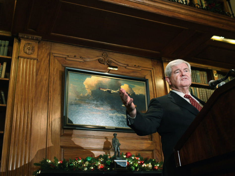 Republican presidential candidate Newt Gingrich speaks to the media at the Union League Club following an earlier meeting with Donald Trump at Trump Tower on Dec. 5 in New York City.