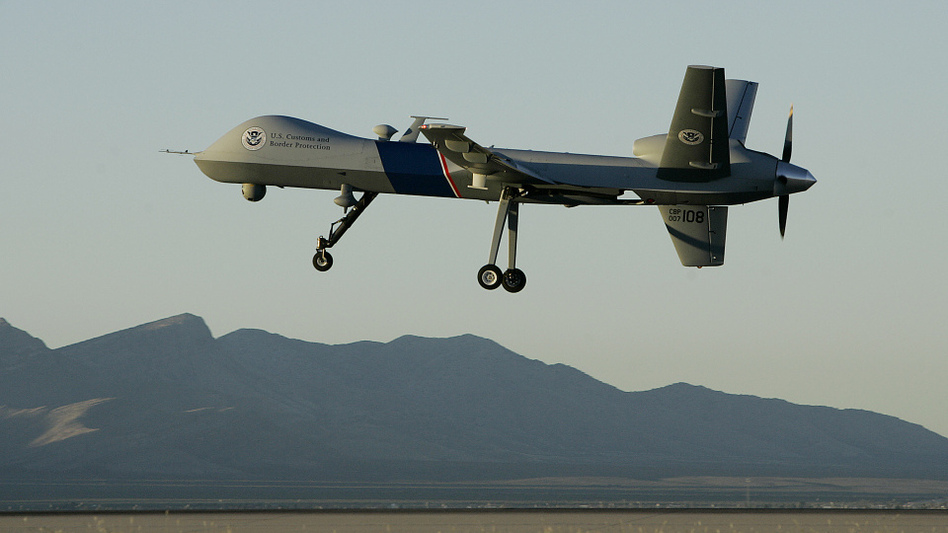A Predator drone takes off on a U.S. Customs Border Protection mission from Fort Huachuca, Ariz.