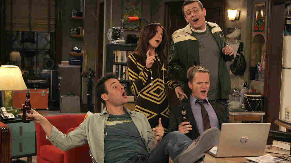 Lily (Alyson Hannigan), Marshall (Jason Segel), Ted (Josh Radnor), and Barney (Neil Patrick Harris, right) on How I Met Your Mother.