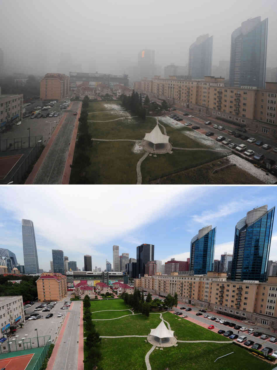 These photos show pollution in Beijing on Dec. 5 (top), compared to a blue sky day (bottom) on Aug. 18. In recent weeks, heavy pollution — caused by coal-fired power plants and vehicle emissions — has led to hundreds of flight cancellations and ro