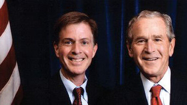 Timothy Goeglein (left) spent nearly eight years in the White House as President George W. Bush's key point of contact to American conservatives and the faith-based world and was often profiled in the national news media. (B&H Publishing Group)