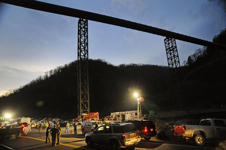 West Virginia State Police direct traffic at the entrance to Massey Energy's Upper Big Branch coal mine in Montcoal, W.Va., after an explosion April 5, 2010. Twenty-nine miners were killed in the blast.