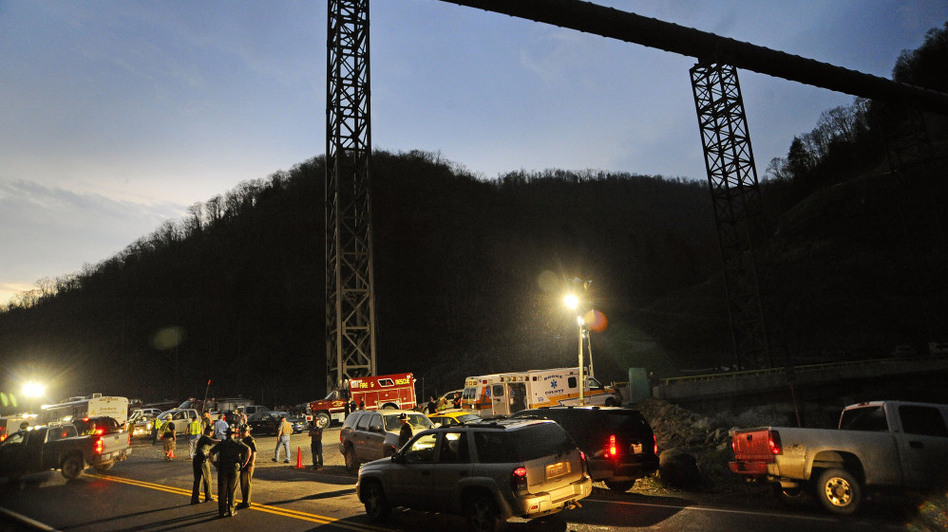 West Virginia State Police direct traffic at the entrance to Massey Energy's Upper Big Branch coal mine in Montcoal, W.Va., after an explosion April 5, 2010. Twenty-nine miners were killed in the blast.  (AP)