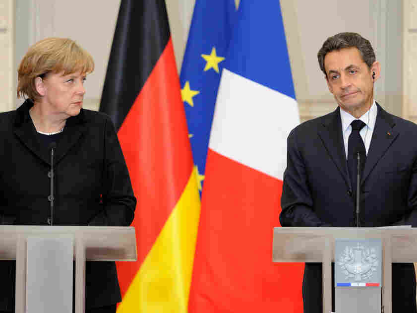 German Chancellor Angela Merkel with French President Nicolas Sarkozy at a press conference
