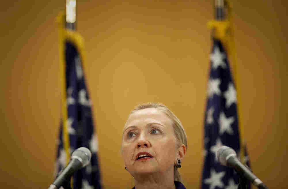 U.S. Secretary of State Hillary Rodham Clinton during her speech on human rights issues in Geneva, Switzerland.