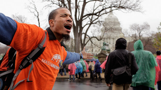 """Hundreds of demonstrators marched Tuesday on Capitol Hill to occupy the offices of their members of Congress during the """"Take Back the Capitol"""" protest. On Wednesday, they plan to target K Street."""