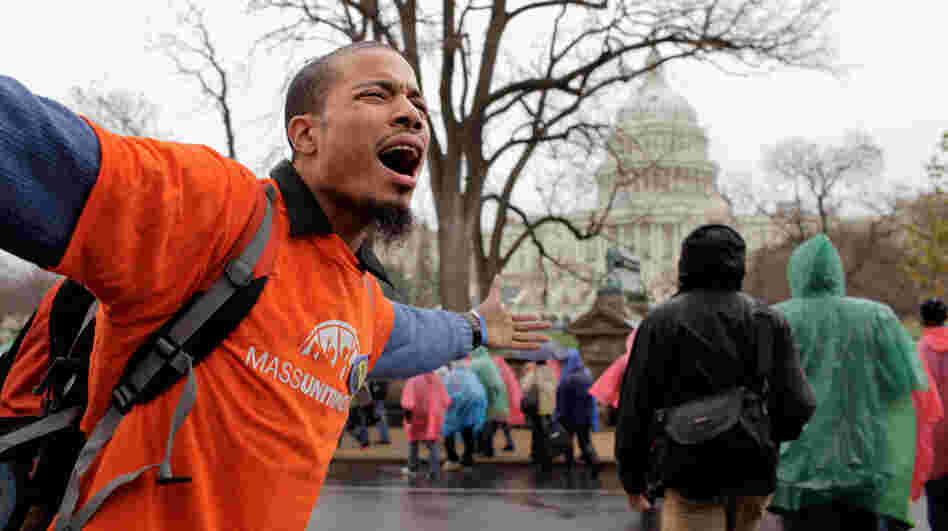 "Hundreds of demonstrators marched Tuesday on Capitol Hill to occupy the offices of their members of Congress during the ""Take Back the Capitol"" protest. On Wednesday, they plan to target K Street."