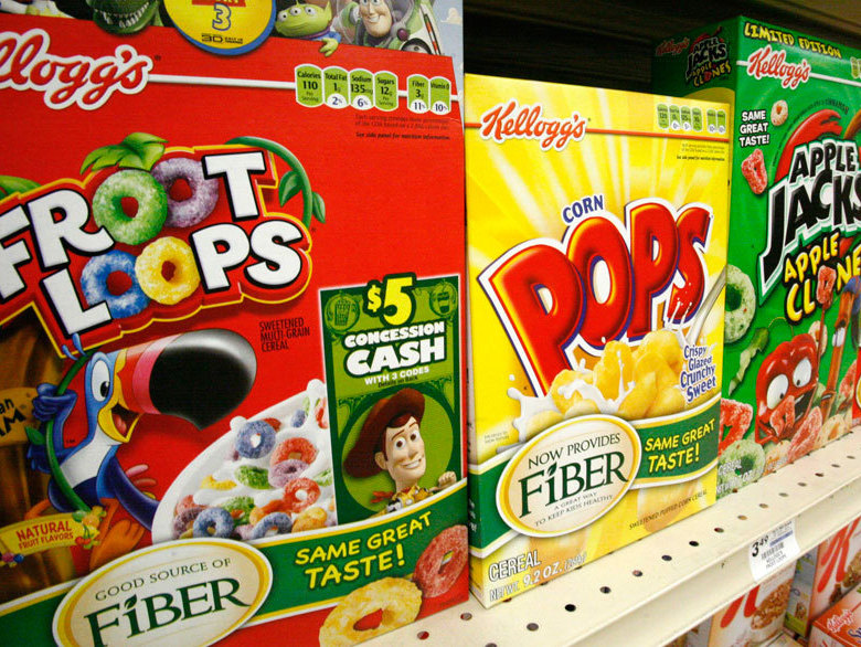 Boxes of Kellogg's Froot Loops, Corn Pops and Apple Jacks on the shelf of a Mt. Lebanon, Pa., grocery store.