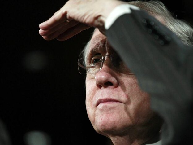 Senate Majority Leader Harry Reid, (D-NV) during a news conference on a payroll tax cut compromise.