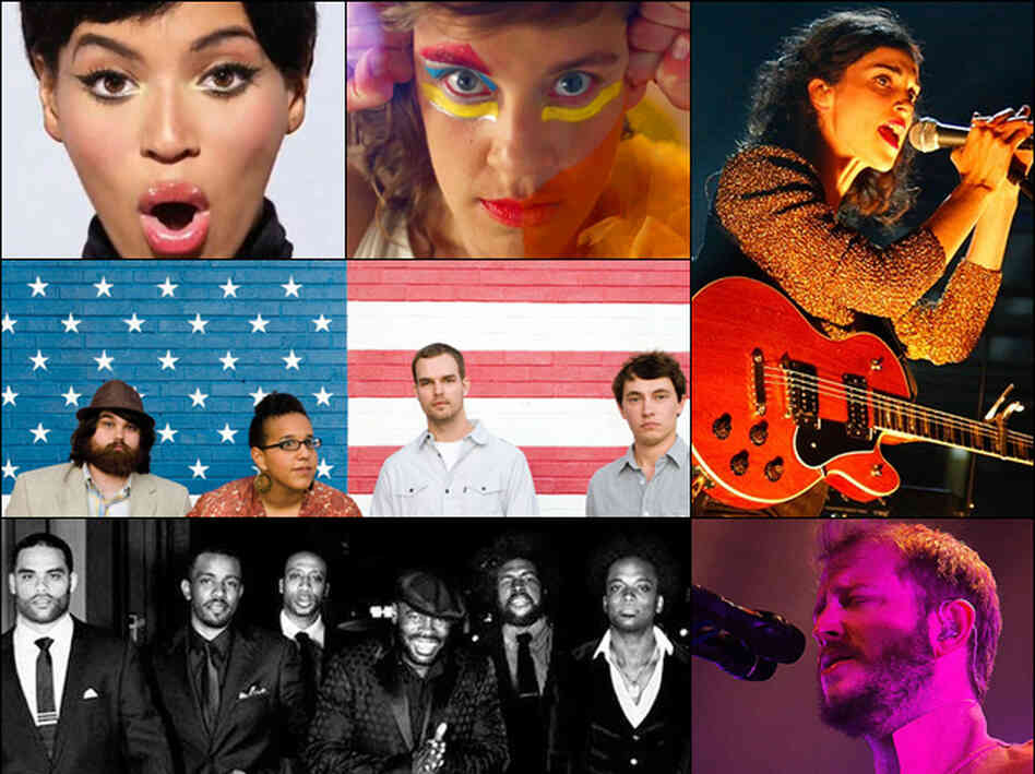 Clockwise from top left: Beyoncé, tUnE-yArDs, St. Vincent, Bon Iver, The Roots, Alabama Shakes.