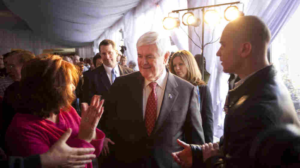 Newt Gingrich, whose run for president nearly derailed earlier this year when many of his top staffers quit, now sits atop the polls. As a result, his campaign organization is growing. Here, he arrives at a town hall meeting last week in Staten Island, N.Y.