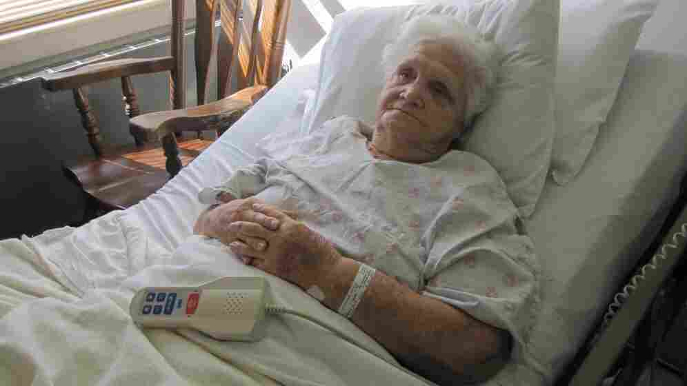 """Shirley Holden, 78, has been coming to Hood Memorial Hospital since 1971. She says if the hospital were to close, she'd mostly stay home. """"I would not be going ... anywhere else unless I went on a stretcher."""""""