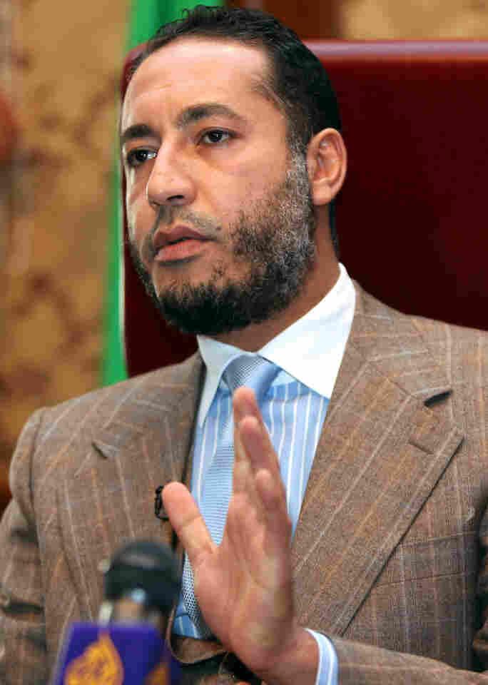 Saadi Gadhafi at January 2010 news conference in Tripoli.