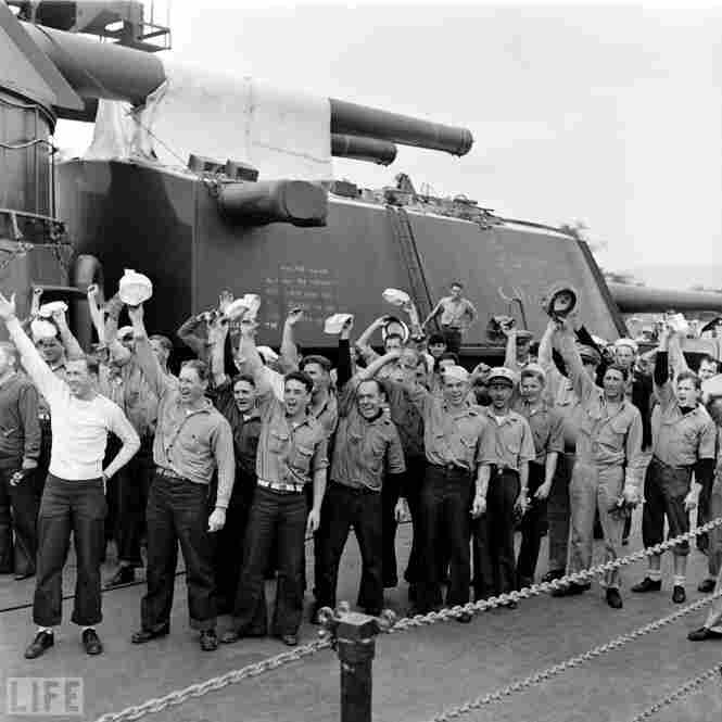 An American destroyer's crew shows its spirit, early 1942.
