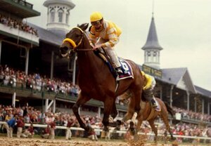 Chris McCarron crosses the finish line on Go for Gin to win the 120th running of the Kentucky Derby in May 1994.