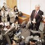 Then-House Speaker Newt Gingrich holds court at Reinhardt College in Waleska, Ga., March 11, 1995, after teaching his fi