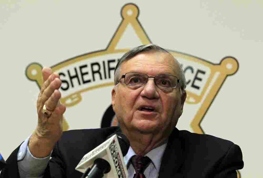 Maricopa County Sheriff Joe Arpaio discusses the latest in the document release on his office's handling of many sexual assault cases over the years in El Mirage, Ariz., during a news conference Monday.