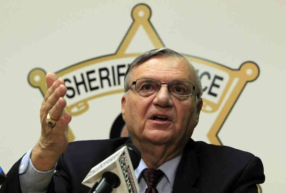 Maricopa County Sheriff Joe Arpaio discusses the latest in the document release on his office's handling of many sexual assault cases over the years in El Mirage, Ariz., during a news c