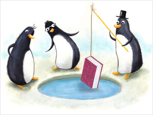 Illustrations: Penguins ice fish for books.