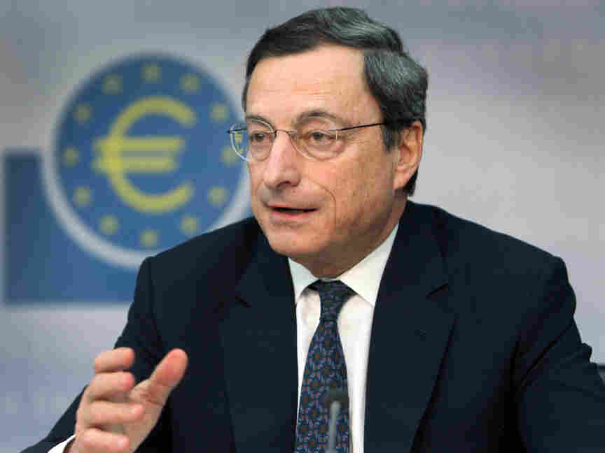 Mario Draghi, President of the European Central Bank,addresses the media during a press conference following the meeting of the ECB Governing Council.