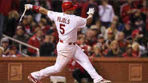 Albert Pujols, then of the St. Louis Cardinals, during the World Series in October.