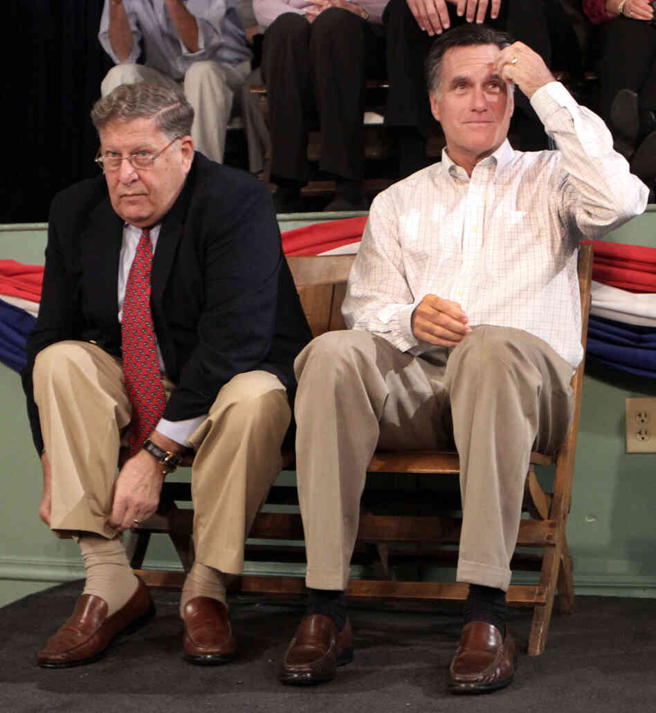 "Mitt Romney with supporter John Sununu, the former New Hampshire governor and supporter, accused Newt Gingrich of ""irrational behavior."""