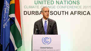 U.S. envoy Todd Stern delivers a speech on Thursday in Durban, South Africa, during the U.N. Climate Change Conference.
