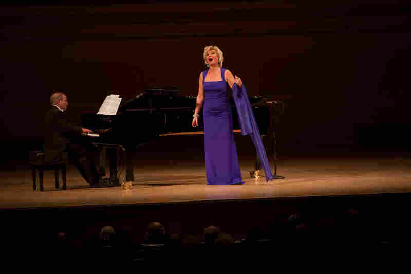 """For the evening's second half, the statuesque Mattila — who stands 5'10"""" — changed dresses to perform music by her Finnish countryman Aulis Sallinen and Joseph Marx."""