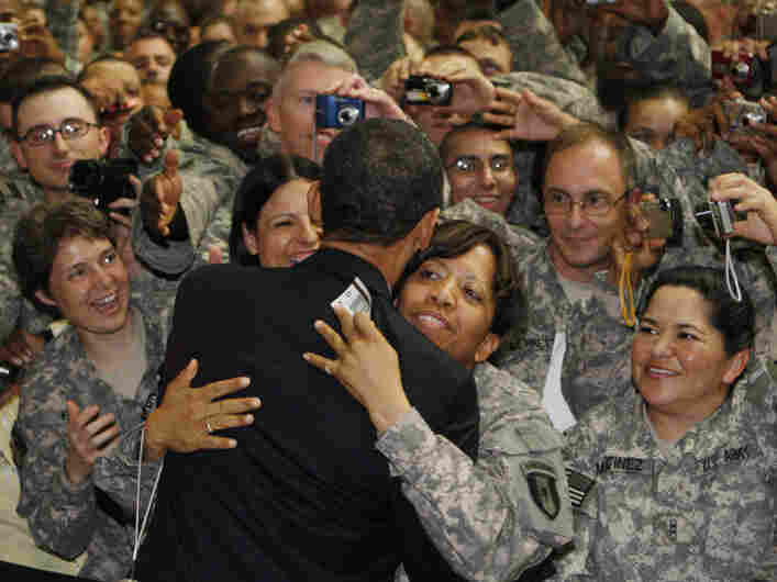 On this April 7, 2009, visit to Iraq, President Obama greets U.S. troops at Camp Victory in Baghdad. On Dec. 2, 2011, the base was handed over to the Iraqi government. All U.S. soldiers are to be gone from Iraq by year's end.