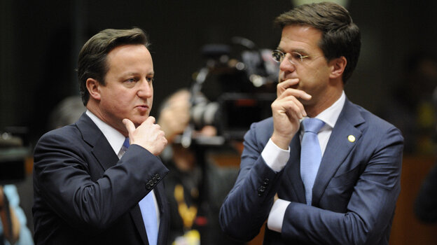 Britain Prime Minister David Cameron (left) and Netherlands Prime Minister Mark Rutte  earlier today at the summit in Brussels.